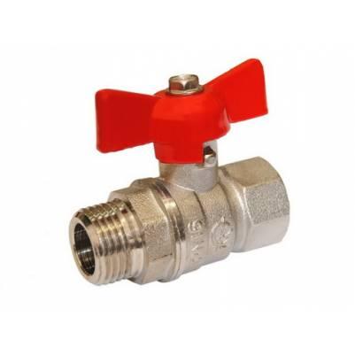 Кран шаровой латунный Стандарт 231 Ду15 ВР/НР бабочка полнопроходной никел., ГАЛЛОП