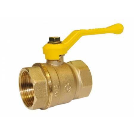 Кран шаровой латунный для газа Стандарт 220 Ду25 ВР/ВР рычаг полнопроходной, ГАЛЛОП