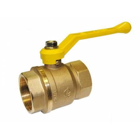 Кран шаровой латунный для газа Стандарт 220 Ду40 ВР/ВР рычаг полнопроходной, ГАЛЛОП