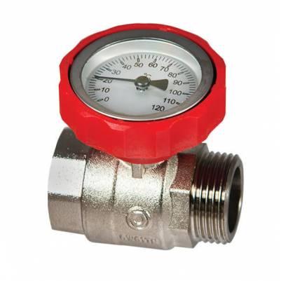 Шаровой кран KG 25 TH (красный) с термометром, HANSA