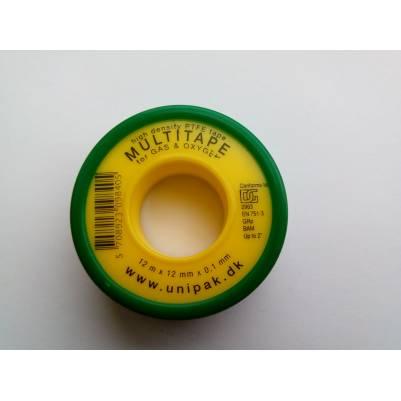 Фум-лента MULTITAPE (12 м х 12 мм х 0,1мм) (газ), Unipak